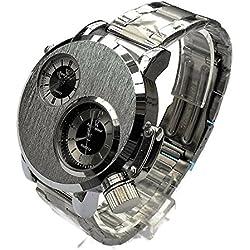 QBD Men's Large Watch. Dual Time Zones- Big 5cm Dial - Long 18-24cm-Strap- (silver face/metal)
