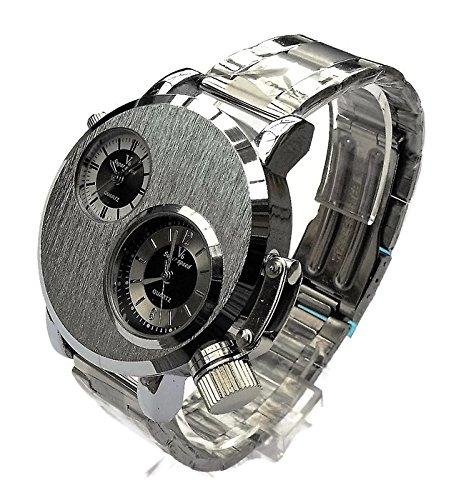 QBD orologio da uomo grande. Dual Time zones- Big quadrante di 5cm, lunghezza 18-24cm-strap- (Argento/Metallo)