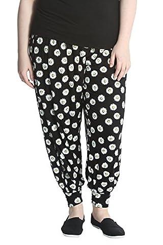 Daisy Print Harem Trouser Black 24-26