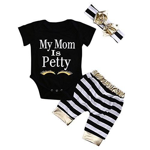 SCFEL Neugeborenen Baby Kurzarm Strampler + Streifen Hosen + Bogen Stirnband Sommer Outfits (Schwarz & Weiß, 7-12 Monate) (Ernte-pyjama-hose)