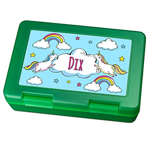 Brotdose mit Namen Dix - Motiv Einhorn, Lunchbox mit Namen, Brotdose Light Green - Frühstücksdose Kunststoff lebensmittelecht