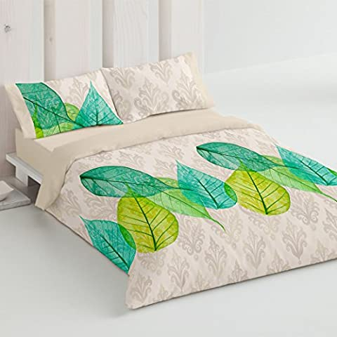 Burrito Blanco - Juego de funda nórdica 337 Verde para cama de 135 x 190/200 cm.