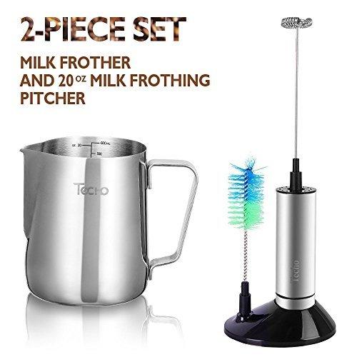 TECHO Milchaufschäumer-Set, 600ml / 20oz Edelstahl Milchkanne & Elektro Milchaufschäumer, Milk Pitcher & Frother, mit Ständer und Bürste, Schaum Maker Kit für Latte Art