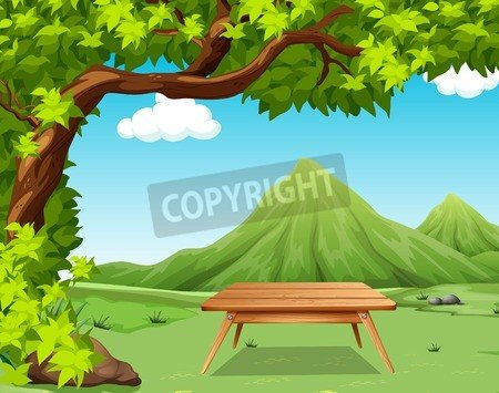 "Leinwand-Bild 80 x 60 cm: ""Nature scene with picnic table in the park illustration"", Bild auf Leinwand"