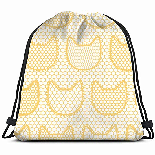 DD Decorative lace Cats Vintage Fashion Backdrop Beauty Drawstring Backpack Gym Sack Lightweight Bag Water Resistant Gym Backpack for Women&Men for Sports,Travelling,Hiking,Camping,Shopping Yoga -