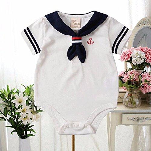 Zooarts Neugeborene Baby Unisex Mädchen Jungen Sailor Strampler Foto Requisiten Body Sommer Outfit für 0-24Monate Baby Kleidung (weiß), Baumwollmischung, weiß, 60 (0-6 Months)
