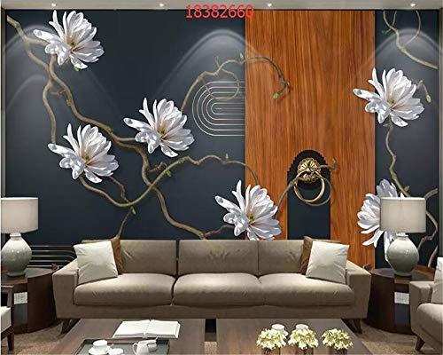 MuralXW Carta da Parati Creativa della Parete del Fondo del Cavallo dell'uccello della Prugna del Fiore 3D dello Schermo di Arte Cinese Dipinta a Mano Nuova HD-280x200cm