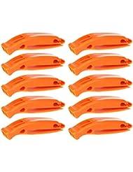 10 pc Sifflet d'Urgence Sifflet de Sécurité – appel de détresse signalisation de haute fréquence pour l'entrainement ou la survie en plein air et en forêts – Orange vif