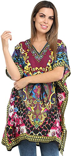 Exotic India Short Kaftan with Printed Florals All-Over and Dori at Waist - Color Rasberry Rose Garment Size Einheitsgröße meisten -