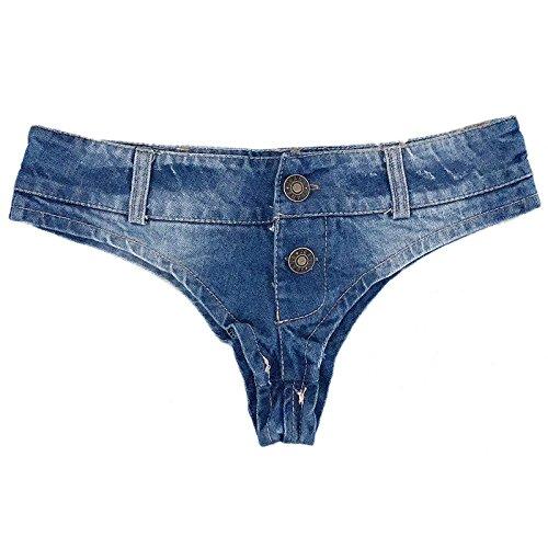 Ruiyue Mini-Denim-Shorts, Sexy Cute Bikini Sexy Jeans Shorts Low Rise Denim Booty Shorts Strand Culb tragen vier Größen für Frauen (Size : S) (Shorts Hot Low Rise)