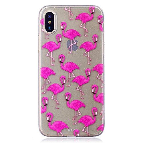 iPhone X Hülle, Voguecase Silikon Schutzhülle / Case / Cover / Hülle / TPU Gel Skin Handyhülle Premium Kratzfest TPU Durchsichtige Schutzhülle für Apple iPhone X(Weißer Leopard) + Gratis Universal Ein Rot-gekrönter Kran 04