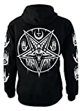 Pentagram Baphomet Genuine Darkside Fleece Zip Up Sweater Hoodie Nu Goth Occult Hooded Top