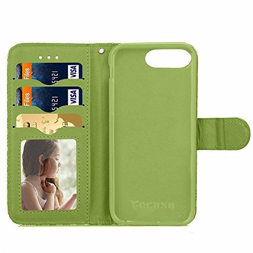 iPhone Case Cover Étui en cuir Wallet mixte Couleur PU Avec Cash Card slot petites fleurs Motif Case Cover Support Soft Case TPU pour Apple IPhone 7 Plus ( Color : Brown , Size : IPhone 7 Plus ) Green