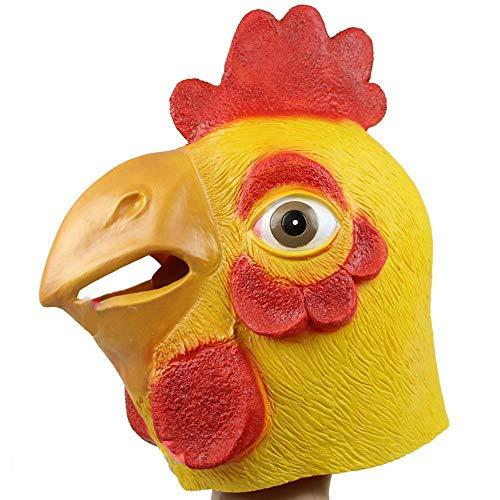 QJXSAN Testa di Pollo del Lattice del Controllo di Arte di Prestazione del Copricapo Animale del Copricapo dell'uccello Rosso della Maschera del Copricapo del Gallo