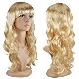 TOOGOO(R) Sexy Longue Frise Cheveux Perruque Chic Tout ondule Perruques - Blonde