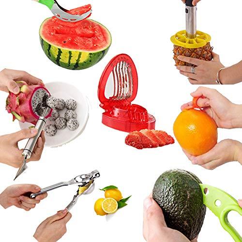Obstschneider 7-Teilig: Zitronenpresse Zitruspresse, Wassermelonen Messer Edelstah und Doppelzweck...