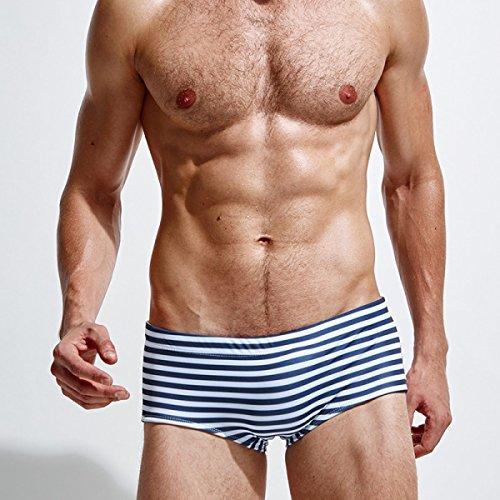 KUWOMINI.Men Streifen Kleine Winkel Badehose Niedrige Taille Männer Flache Winkel Badehose Blue