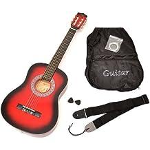 ts-ideen 5209 - Chitarra acustica 1/2 per bambini dai 6 ai 9 anni, accessori inclusi: custodia, tracolla e corde di ricambio, colore: Rosso