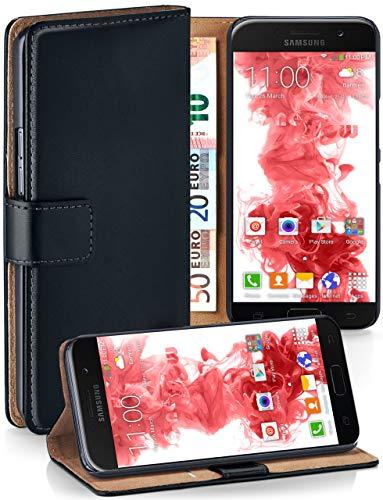 moex® Booklet mit Flip Funktion [360 Grad Voll-Schutz] für Samsung Galaxy A3 (2017) | Geldfach und Kartenfach + Stand-Funktion und Magnet-Verschluss, Schwarz Flip Stand