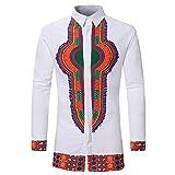 Binggong Herren Shirt,Gutaussehend Männer Herbst Mode Freizeit Schmale Passform Afrikanischer Stil Nationaler Stil Drucken Lange Ärmel T-Shirt Hemd Oben Grundsätzlicher Absatz