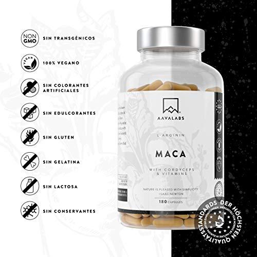 NOVEDAD-Maca-L-Arginina-Contiene-Cordyceps-y-Extracto-de-Acerola-con-Vitamina-B6-B12-C-y-Zinc-por-Dosis-Diaria-Nrdica-100-vegana-y-sin-OMG-Elaborado-en-Europa-180-cpsulas