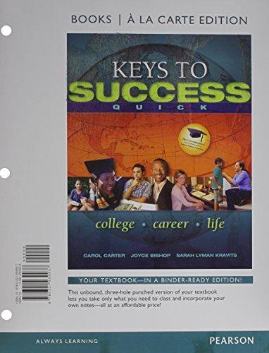 Keys to Success Quick, Books a la Carte Edition Plus New Mystudentsuccesslab 2012 Update -- Access Card Package