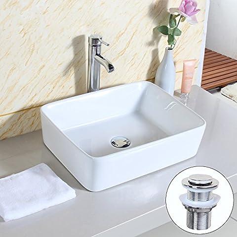 GaGa Square Bowl Top Ceramic Basin Bowl Sink Vessel Porcelain Vanity Bathroom Kitchen with Pop Up
