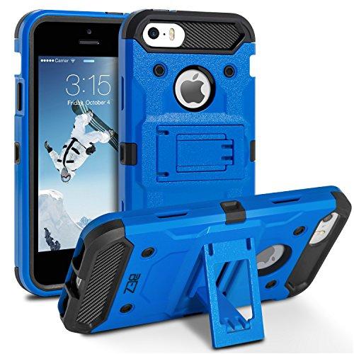 BEZ Coque pour iPhone 5S, Coque Etui Housse iPhone 5 5S Se Antichoc Militaire [Tough Armor] Heavy Duty Shock Proof Survivor Protective Housse - Bleu