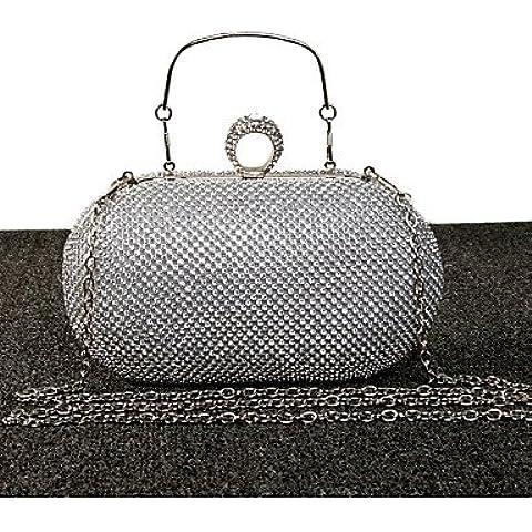 Da Wu Jia Ladies borsetta di alta qualità di lusso diamanti donne infiorescenza staminifera frizione/formale / evento/festa di nozze / sera Borsa/borsa/borse/Eveningbags/vetro/Stone , nero