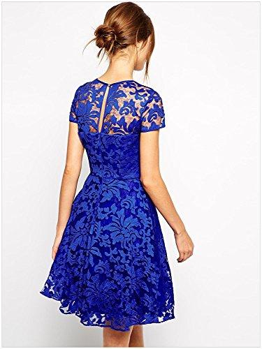 kingfield Bleu Royal Fée en dentelle florale Overlay Patineuse femmes robe A-Line Bleu - Bleu