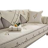 AQAWAS Couch Covers, Winter Solid Color Cotton Sofakissen Non-Slip Sofa Cover Handtuchbezug, Multi-Size Haustier Hund Couch Weiche Gesteppte Möbel Protektoren Covers für Sofa,White_28*71inch
