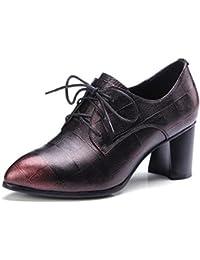 Beauqueen Oxford Chunky Tacón Lace-up punta-dedo del pie Vintage zapatos 34-