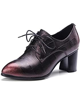 Beauqueen Oxford Chunky Tacón Lace-up punta-dedo del pie Vintage zapatos 34-39 UE tamaño 34-39 , red wine , 36