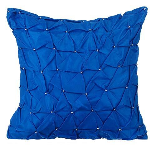 Königsblau kissenbezüge, zeitgenössisch Solide kissenbezüge, 30x30 inch zierkissenbezüge, Taft Platz zierkissenbezüge, Strukturierte Knotted Pintucks Einfarbig dekokissen - Royal Blue Texture -