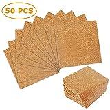 Fogli di sughero autoadesivo 50 fogli da 4'x 4' per sottobicchieri fai-da-te, pannelli di sughero, piastrelle di sughero, tappetino di sughero, mini pannello da parete in sughero con forte adesivo