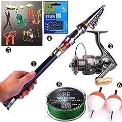 Idea Regalo - Ecoolbuy Set composto da canna da pesca telescopica da 2,1m/2,4m/3m, mulinello 11BB, esche e lenza per pesca alla carpa, materiali 99% in carbonio