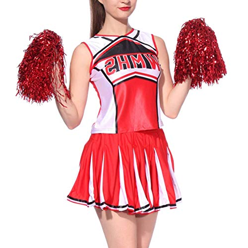 uirend Cheerleader Kostüm Pompons Damen - Erwachsene Cheerleading Kostüm Uniform Karneval Kleid und Pompons Fancy Dress Halloween Sport Tanzröcke