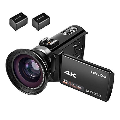 CofunKool 4K Camcoder Camera Wifi Digital Videokamera 30 FPS Video Camcorder IR-Nachsicht-kamcorder mit Weitwinkelobjektive + 2 Batterien