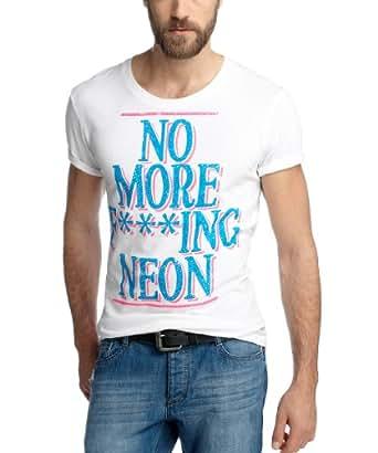 edc by ESPRIT Herren T-Shirt Slim Fit 043CC2K029, Gr. 44 (XS), Weiß (white 100)