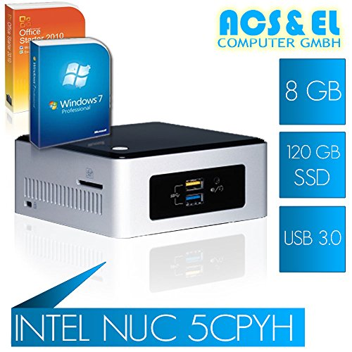 Intel NUC 5CPYH Mini ITX PC System Intel Celeron N3050 2x 2.16GHz, DualCore | 8GB DDR3-1600 | 120GB S-ATA SSD| Intel HD Graphics HDMI | 65W Netzteil, extern | onboard - Computer-system Mini-itx