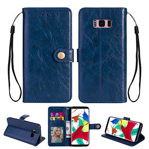 Ostop Hülle für Samsung Galaxy S8,Leder Brieftasche Handyhülle,Marine Blau Klassisch Öl Wachs PU Standfunktion Abdeckung Kartenfach Stilvoll Flip Klapphülle mit Retro Metall Verschluss Schutzhülle -