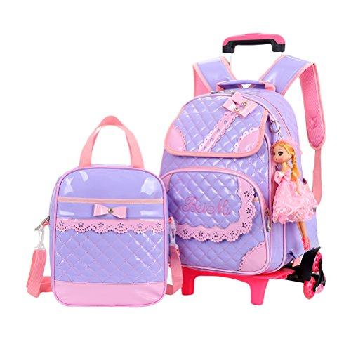 ltasche Studenten Tagesrucksack Trolley-Rucksack mit Räder - Grundstufe Mädchen Draussen Reise Rollen Büchertasche ()