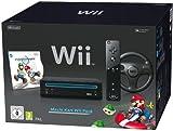 Console Wii noire + Mario Kart + Télécommande Wii Plus - noire + Volant Wii noir