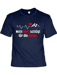 Klettern Bergsteigen Wandern HERZ Shirt Berg Sport Alpinisten Bergfreunde Motiv Shirt bedruckt Freeclimber T-Shirt Klettersteiggeher Trekking Freikletterer : )