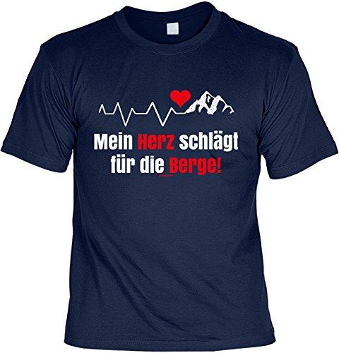 Bergsteiger/Wander/Kletter-Shirt/Sprüche-Shirt Thema Wandern: Mein Herz schlägt für die Berge! Navyblau