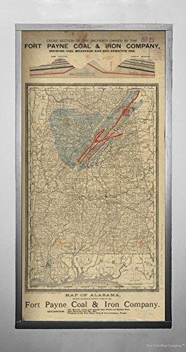 New York Map Company () 1888Karte Alabama der Alabama, Anzeigen Lage von Eigentum im Besitz der Fort Payne Kohle & Eisen compan|Historic Antik Vintage Reprint|Ready Zum Rahmen -