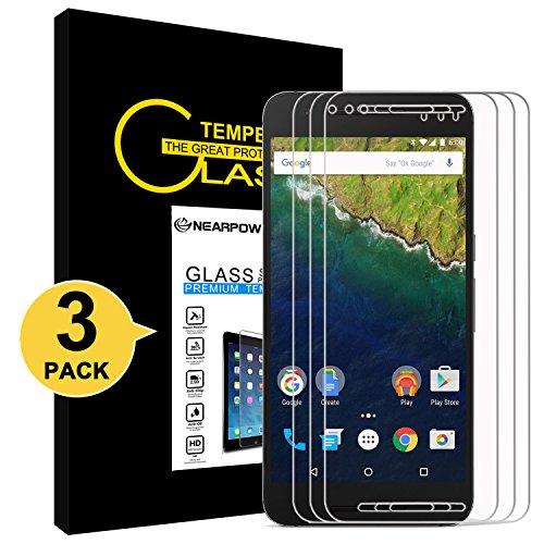 NearPow [3 Stück] Huawei Nexus 6P Panzerglas Displayschutzfolie, Schutzfolie 9H Härte, Anti-Kratzen, Anti-Öl, Anti-Bläschen, Anti-Fingerabdruck