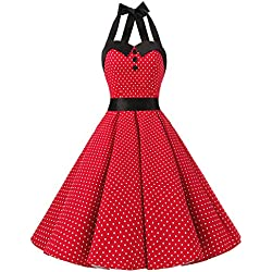 Dressystar Vestidos De Mujers Corto Cuello Halter Estampado Lunares Y Flores Retro Vintage para Fiesta Baile 50s 60s Rockabilly Rojo XXXL