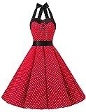 Dressystar Vintage Tupfen Retro Cocktail Abschlussball Kleider 50er 60er Rockabilly Neckholder Rot M
