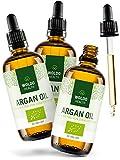 WoldoHealth I Arganöl Bio kaltgepresst 3x 100ml I Vegan I Argan Öl Serum für Anti-Aging I 100% aus Marokko I Gesichtspflege & Körper Öl